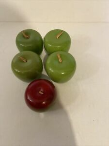 4 Green Apples, 1 Red and Green Apple Wooden Fruit Decor Solid with Stem