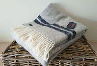 Fishbone 2 Stripe Throw 100% Pure New Wool Silver Grey & Navy Blue Bed Blanket