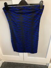 Blue / Black Stretchy Mini Boobtube Top Dress From Lipsy Size 12 Look At My Back