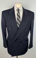 Bachrach Men's 42R Navy Blue Double Breasted Blazer Sports Coat Suit Jacket