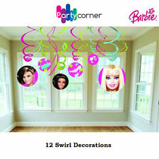 BARBIE PARTY SUPPLIES SWIRL HANGING 12 PC PARTY DECORATIONS