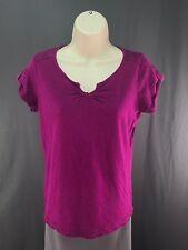 Women's Eddie Bauer Purple Floral Accents V-Neck Short Sleeve Top Blouse Size M