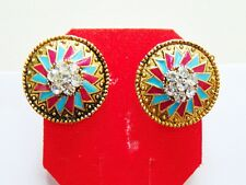 Indian Traditional Tops Gold Tone CZ Stud Earrings Bollywood New Fashion Jewelry