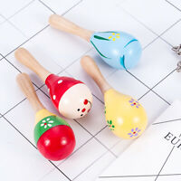 1PC Early Education Wooden Musical Toy Wood Maraca Rattles Baby Child Shaker Toy