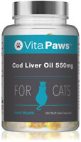 Cod liver Oil 550mg For Cats By VitaPaws™ 180 Soft Gel Capsules Omega Fatty Acid