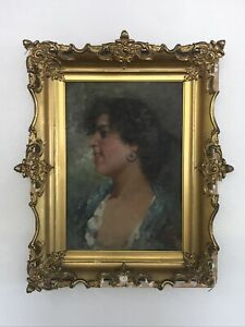Fine Antique 19thC Italian School Pretty Woman Female Model Portrait Painting
