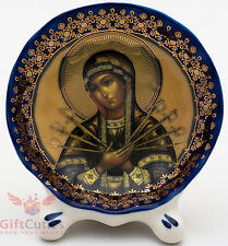 Porcelain gzhel decal plaque Icon Our Lady f Sorrows Blades Arrows Семистрельная