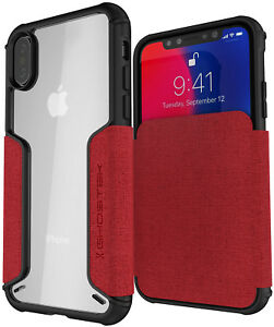 For iPhone X / iPhone XS Case Leather Wallet Case Ghostek EXEC Flip Card Holder