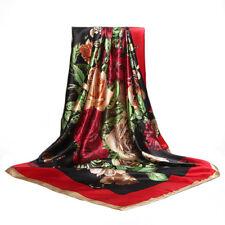 Carré Foulard Rouge - 100%  Soie Thème Floral  Silk séide scarf shawl
