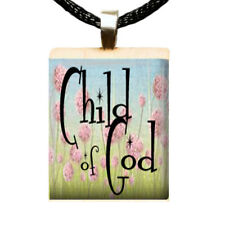Child of God Scrabble Tile Pendant Handcrafted Religious Charm Gift Idea A