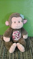 Monkey baby plush lovey blue flower pink brown stuffed animal floral girl