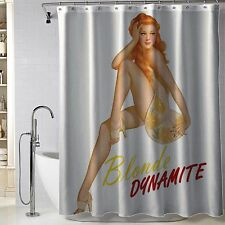 "Hot Pin Up Girl Blonde Dynamite Fabric Polyester Shower Curtain 60"" x 72"" Inch"