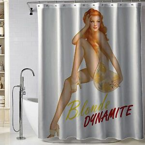 """Hot Pin Up Girl Blonde Dynamite Fabric Polyester Shower Curtain 60"""" x 72"""" Inch"""