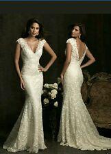 UK Sexy White/Ivory Mermaid Lace Wedding Dress Size Bridal Gown 6-16