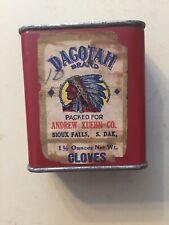Dacotah Brand Spice Tin  Andrew Kurhn Co Sioux Falls South Dakota Indian Pict