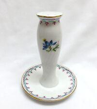 Vintage Porcelain Hatpin Holder Display ~ Teal & Pink Floral Scroll ~ Never Used