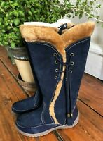 Sporto Navy Blue Suede Waterproof Thermolite Women's Boots Size 6M NWT