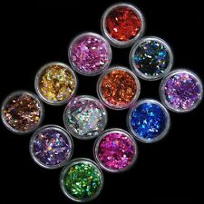 12 Colors Nail Art UV Gel Acrylic 3D Rhombus Shape Glitter Sequins Powder Kit