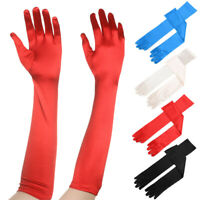 Wedding Evening Party Opera Prom Costume Gloves Mittens Satin Long Gloves