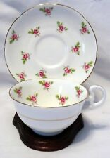 Royal Grafton Fine Bone China England w/Small Roses Floral Tea Cup & Saucer