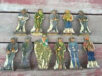 Lot 11 Vintage MARX Tin Litho Metal Soldiers of Fortune Playset Figures