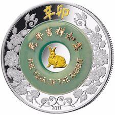 Laos YEAR OF THE RABBIT 2000 KIP Jade Lunar Calendar Silver Coin 2011 Proof 2 oz