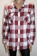 LILY LOVES Brand Burgundy White Check Split Back Collar Shirt Size 18 BNWT #SD78