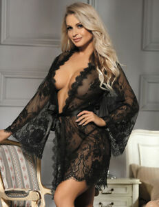 Sexy JACKET Robe Lingerie Lace 10 12 14 16 18 20 22 24 Beautiful DELICATE Robe