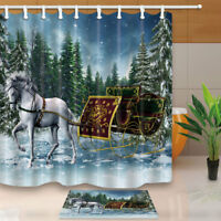 "Horse and Christmas Sleigh Bathroom Shower Curtain Waterproof Fabric & Hooks 71"""
