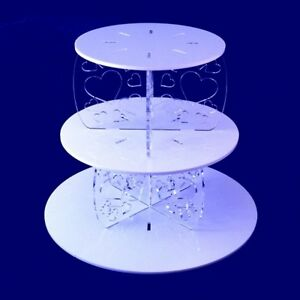 Three Tier Heart Design Round Cake Stand, White/Yellow with heart clear pillars