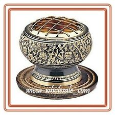 """2.5"""" BLACK Decorated BRASS Charcoal Screen Incense Resin Burner FREE SHIP !!"""