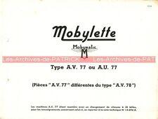 MOTOBECANE MOBYLETTE AV 77 AU 77 : Feuille isolée (pièces détachées) MOBYMATIC