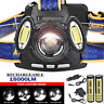 15000 Lumens 3x XML T6 Rechargeable Headlamp HeadLight Torch USB Lamp Head Light