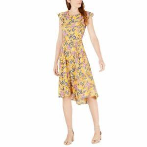 MAISON JULES Women's Gold Moroccan Faun Floral-print Hi-lo A-Line Dress 10 TEDO