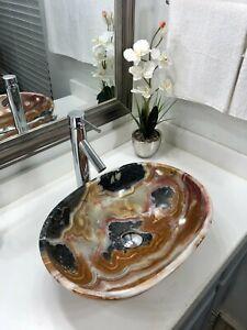 Onyx/Travertine Stone Sink /Modern Natural Stone Bathroom Vessel Oval.