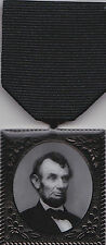 Abraham Lincoln Civil War Mourning Medal with 2 Medal Drapes