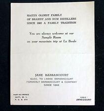 Jane Barbancourt Rare Business Card Product & Price List HAITI'S Rum Distillers