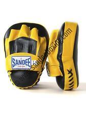 Sandee Leather Black & Yellow Curved Focus Mitt Muay Thai Boxing MMA