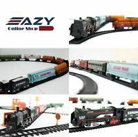 Brand New Train Set Tracks Toy Battery Operated Tanker Carriage Light/Sound
