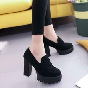 Womens Platform High Chunky Heels Casual Round Toe Pumps Court Work Slip On Shoe