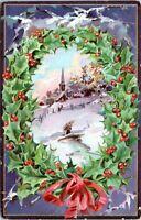 1908 Raphael Tuck Christmas Postcard Holly Post Cards Series Wreath Church JF