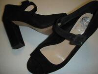Vince Camuto Selmer Suede Leather Peep Toe Block Heel Pumps Womens 8.5 M Black