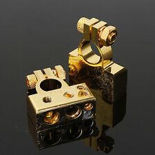 Pair 4/8 AWG Gauge Auto Car Positive & Negative Battery Terminal Gold Zinc Alloy
