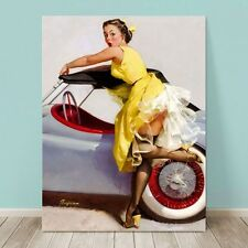 "VINTAGE Pin-up Girl CANVAS PRINT Gil Elvgren  8x10"" Cover Up Auto"