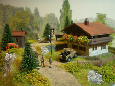 H0 Diorama HO 1:87 Forsthaus Haus am Waldrand Berge patiniert Beleuchtung Wald