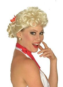 Womens 50s Blonde Wig Housewife Rockabilly Curly Curls Bun Bow House Wife Adult