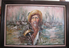 ROY PIERCE LARGE ORIGINAL SIGNED 44x32 OIL PAINTING - FISHERMAN IN HARBOR