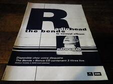 RADIOHEAD - Publicité de magazine / Advert !!! THE BENDS !!!