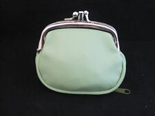 COIN PURSE DOUBLE FRAME GREEN WITH ZIPPER POCKET NEW  GIFT IDEA FREE SHIPPING