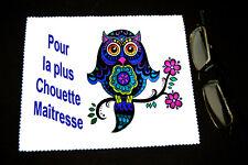 """Chiffonnette essui lunettes message """"Pour la plus chouette Maîtresse"""""""